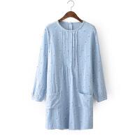 H18新韩版风琴压褶宽松大码套头小碎花加厚双层纱长袖衬衫裙