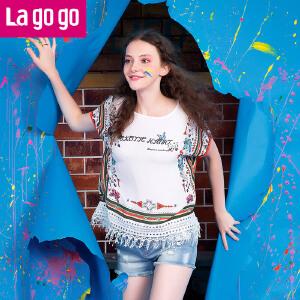 Lagogo拉谷谷正品2016年夏新款民族风流苏圆领直筒T恤短袖上衣女