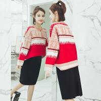 2018春装新款毛衣配裙子两件套时尚韩版潮小香风针织套装裙女秋冬 雪花红色毛衣黑色针织半身裙