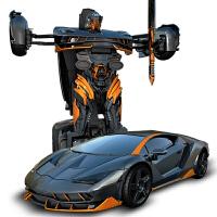 儿童遥控变形金刚玩具兰博基尼汽车机器人模型男孩玩具