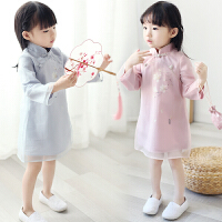唐装女童连衣裙古装服装女汉服女宝宝春装套装0一1-2-3岁韩版潮