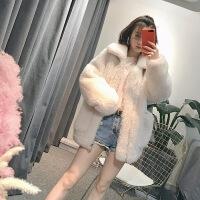 【品质优选】皮草女外套2018冬新款羊羔毛皮草外套女真毛羊剪绒短款大衣毛绒廓形宽松 白色