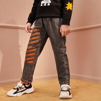 【1件4折:115】巴拉巴拉旗下男童加绒牛仔裤2019年冬装儿童裤子新款帅气时髦男