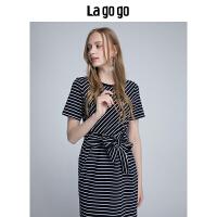 Lagogo 2018夏季新款女装条纹T恤短袖连衣裙女中长款蕾丝拼接裙子HALL355F35