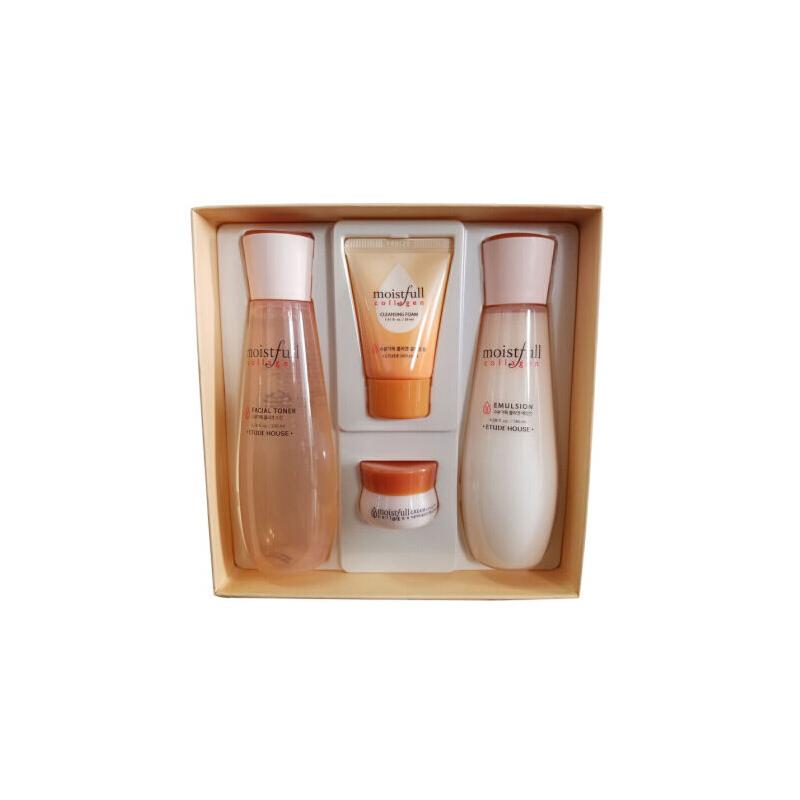 韩国 ETUDE HOUSE 爱丽小屋胶原蛋白水乳保湿四件套盒补水保湿 补充肌肤所需的胶原蛋白