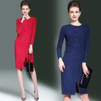 春秋冬女装新款亮丝微弹气质显瘦连衣裙OL修身中长包臀打底裙