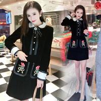 名媛小香风连衣裙秋春款2018新款女娃娃领长袖气质金丝绒外穿短裙 黑色