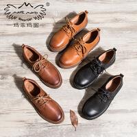 玛菲玛图牛津鞋女厚底单鞋新款英伦鞋女复古学院风系带中跟平底小皮鞋687-7W
