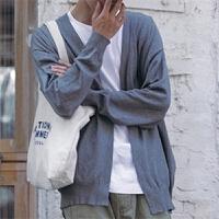 新款日系青年秋装纯色针织衫外套 潮男落肩袖休闲针织毛衣开衫