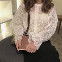 春夏韩版宽松花边长袖蕾丝衫上衣+打底吊带背心两件套女时尚套装