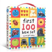 英文原版 First 100 Words Box Set 儿童英语启蒙 5册盒装+5个贴纸 bright baby t