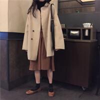 慈姑2018秋冬女装韩版宽松中长款BF风毛呢外套薄款呢子大衣气质风衣 均码