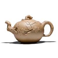 【只有一个】宜兴段泥泡茶茶具松鼠葡萄图案 紫砂茶壶 紫砂壶茶具 养生泡茶壶 茶水壶 沏茶壶 家用迷你手工紫砂壶茶壶 正