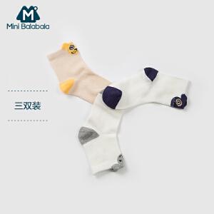 迷你巴拉巴拉儿童袜中小童袜子新款夏季透气男女童3双装短袜