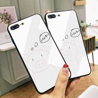 小猪仙女梦苹果7plus手机壳手绘卡通iPhone6S保护套7简约彩绘X硅胶软边8p可爱女潮牌新款六6耐磨玻璃壳手感好