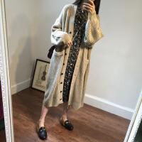 2018春秋针织衫女士开衫中长款 V领纽扣时尚韩版宽松毛衣长袖外套 均码