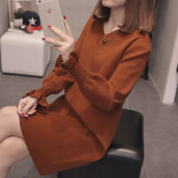 女士V领毛衣女2018新款韩版宽松中长款打底衫长袖秋冬百搭时尚潮