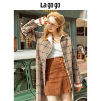 【清仓3折价419.7】Lagogo/拉谷谷2019新款复古撞色格纹外套女HCRR249G29