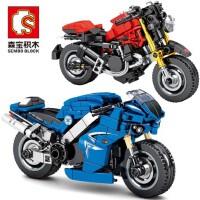 森宝小绵羊摩托车越野杜卡迪儿童�犯呋�木拼装玩具益智模型男孩子