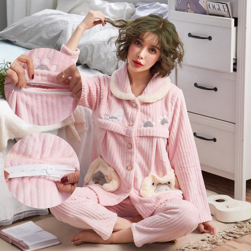 法兰绒月子服加绒加厚保暖冬天开衫孕妇睡衣冬季珊瑚绒产后哺乳装 发货周期:一般在付款后2-90天左右发货,具体发货时间请以与客服协商的时间为准