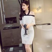 名媛小香风蕾丝女修身一字领露肩挂脖夜店场直播性感小礼服连衣裙