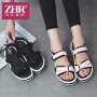 ZHR2018夏季新款百搭韩版松糕凉鞋舒适防滑平底鞋子简约厚底女鞋AQ05