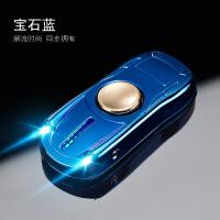高速手指旋转指尖陀螺金属发光创意跑车充电打火机点烟器玩具 宝石蓝 礼品盒装