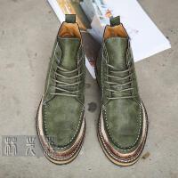 DAZED CONFUSED 潮牌春秋新品 高帮皮鞋男士中帮鞋潮流英伦复古休闲鞋子 做旧厚