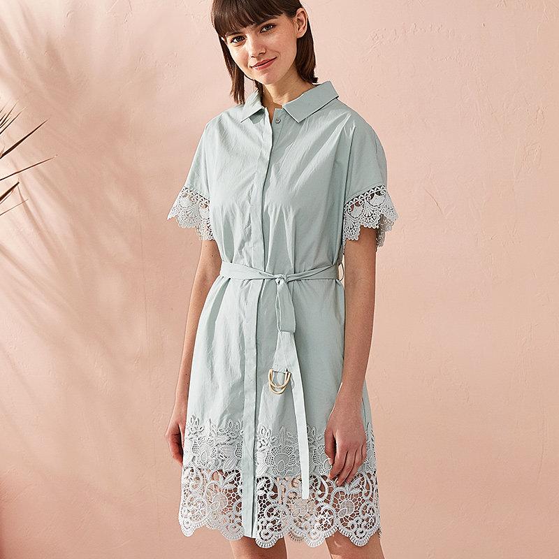 熙世界中长款方领短袖连衣裙女2018年春夏装新款蕾丝拼接112SL035