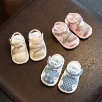 婴儿鞋夏季布凉鞋包头宝宝鞋子男软底学步鞋女夏天