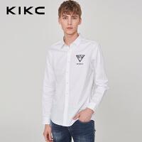kikc长袖衬衫男2018秋季新款商务纯棉尖领潮流休闲衬衣时尚上衣男