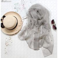 灰色百搭双层钉珠真丝丝巾羊毛围巾桑蚕丝空调礼服披肩长款女春夏