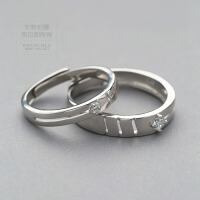 925银形影不离锆石情侣对戒 镶钻石戒指 ins冷淡风个性简约送女友 戒指一对