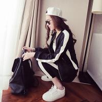 休闲运动服套装女春秋季韩版学生时尚气质显瘦学院风两件套潮 黑色