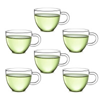 6只装玻璃茶杯子 红茶杯功夫茶具80ML玻璃小茶杯带把品杯透明品茗杯子耐热杯功夫夫茶具