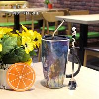 汉馨堂 马克杯 韩版创意四季风景马克杯办公室带盖勺大容量陶瓷杯女学生喝水杯子