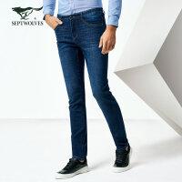 七匹狼牛仔裤 春季男士时尚商务休闲直筒合体牛仔裤长裤