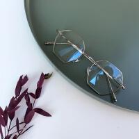 韩版多边形方框眼镜框男女款文艺复古全金属质感素颜平光镜潮Y lj