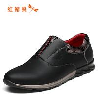 红蜻蜓男鞋 男士商务休闲系带皮鞋