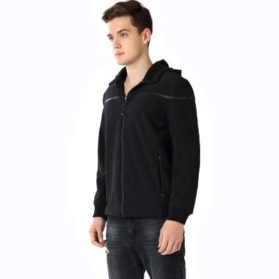 木林森男装 新款男黑色时尚复合外套 弹力防风保暖青年潮服上衣01361502