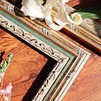 实木相框挂墙定做定制画框装裱画框木条镜框北欧美式装饰画框组合 复古色