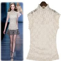 欧美春夏新款高立领蕾丝雪纺衫短袖大码女T恤无袖网纱上衣送吊带 白色 (806款)