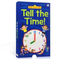 英文原版绘本Pull-The-Tab Tell The Time 时钟安排书 幼儿早教启蒙认知时间概念培养生活规律养成