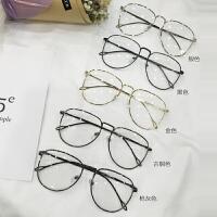 韩版潮复古眼镜框架金属圆框近视金色大框平光复古女文艺潮可配镜 均码