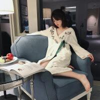 中国风法兰绒公主睡裙女冬季长袖加厚加绒睡袍浴袍睡衣秋冬家居服 均码