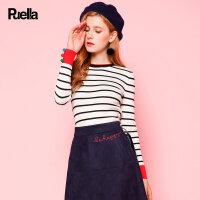 条纹套头针织衫女新款韩版修身内搭毛衣长袖百搭打底衫