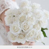 手感保湿仿真玫瑰花束装饰花绢花干花花束客厅假花仿真花花瓶摆件 绽放10枝装 白色