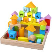 婴儿童生肖积木玩具0-1-2半3-6周岁男女孩宝宝小孩可啃咬智力木制