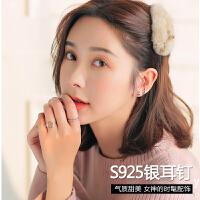 四爪耳钉925银耳钉女韩国气质个性简约小耳环耳饰品生日礼物 一对价