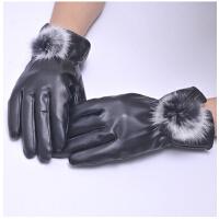 加绒加厚保暖皮草分指手套女士手套秋冬天触屏皮手套女兔毛手套
